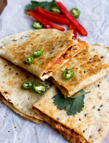 A Pakistani twist to a Mexican favourite, these desi chicken quesadillas are made with shredded chicken, sliced vegetables, lots of spices in a flour tortilla.