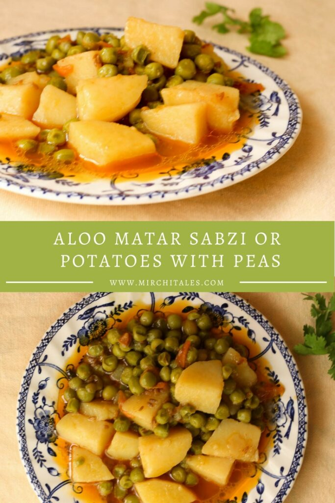 A basic vegetarian recipe that is a family favorite. Aloo Matar (Potatoes and Peas) are cooked together to create a simple yet delicious sabzi ka salan.