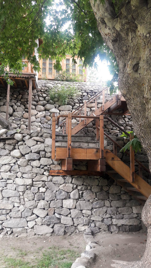 Steps leading upto the restaurant at Serena Khaplu Palace. On the right is the entrance and reception. On the left is Yabgo Ghar.