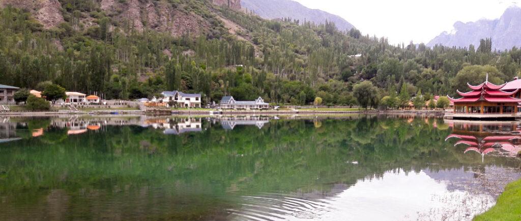 Shangrila Resort with Kachura Lake in the middle in Skardu