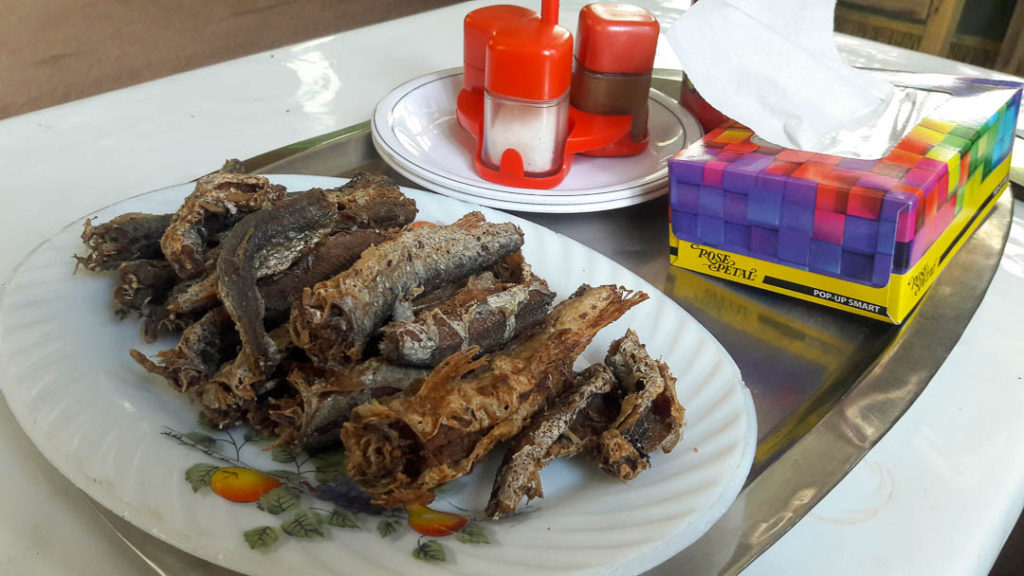 Fried fish made fresh at the fishing farm in Khaplu, Gilgit. Not my cup of tea but the husband enjoyed it.