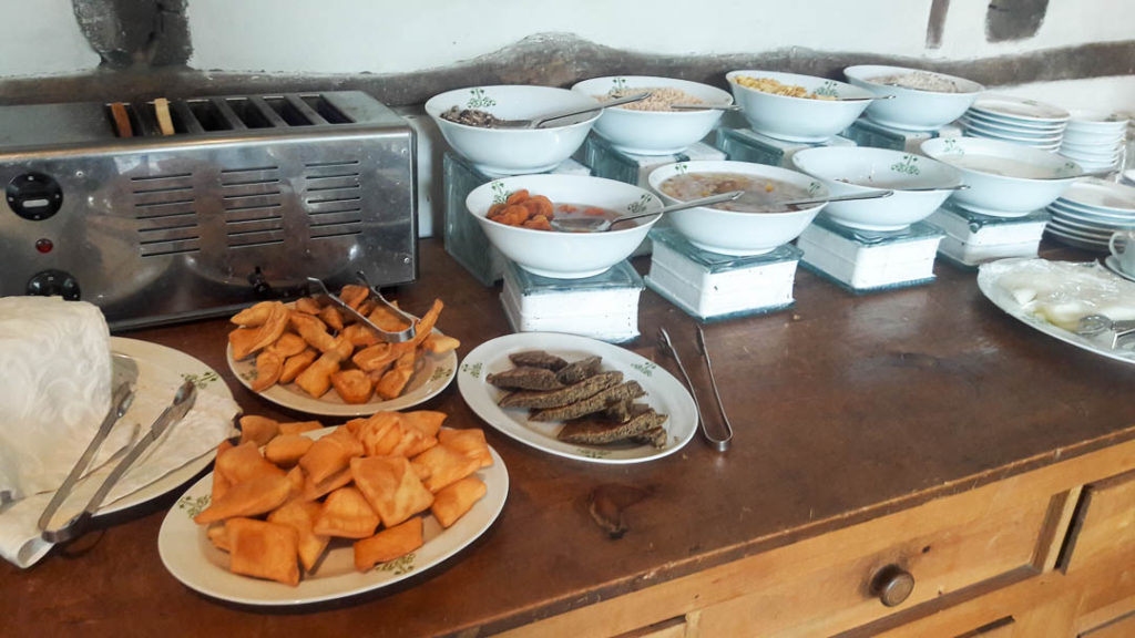 Breakfast laid out at Serena Khaplu Palace. There were a variety of cereals, jams, jellies, honey, the typical Pakistani naashta like halwa puri and aloo ki tarkari along with local specialties like this delicious bread.
