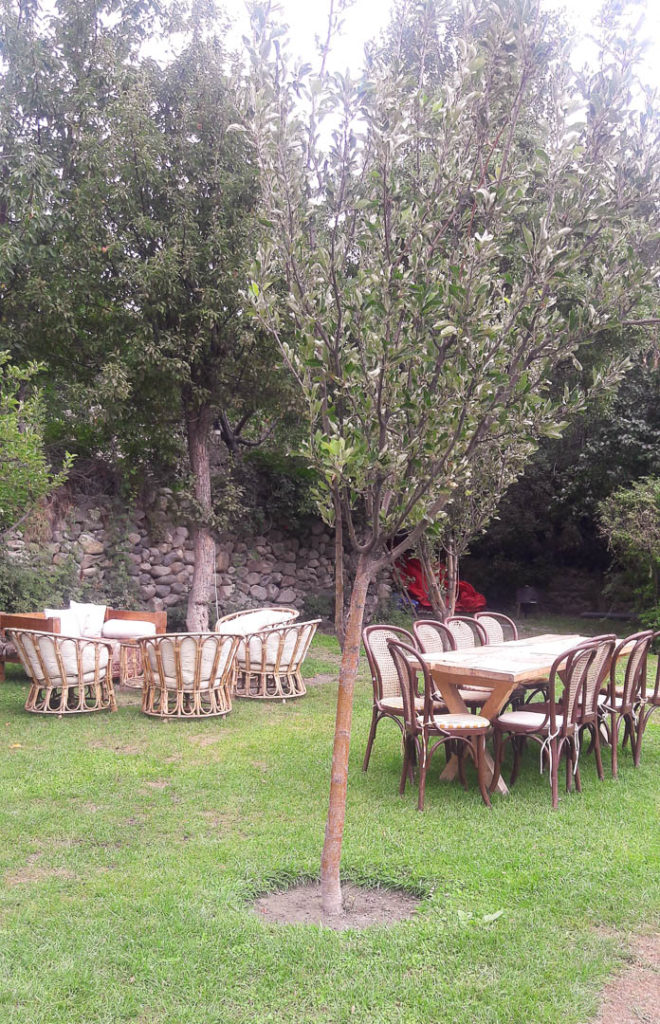 One of the outdoor dining areas at Serena Khaplu Palace. If the weather permits, they also do a barbeque in the night.