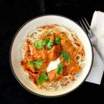 Chicken Paprika Stroganoff- boneless chicken with mushrooms in a rich & creamy paprika based sauce.