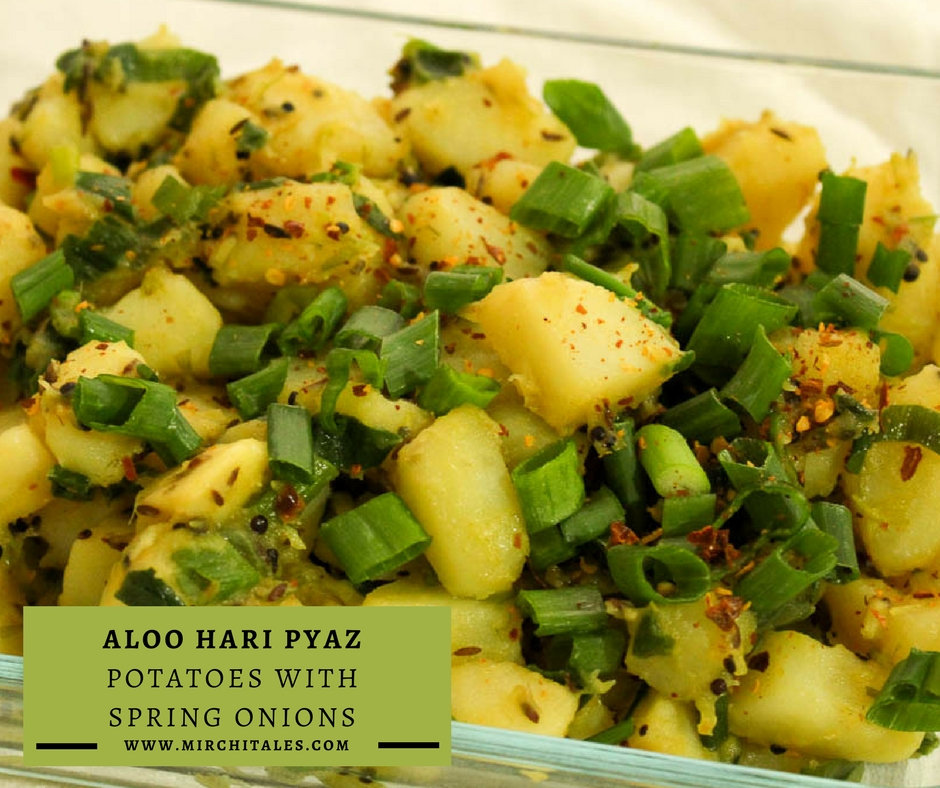 Aloo Hari Pyaz is a simple to prepare Pakistani vegetarian recipe made with potatoes and spring onions. It can be ready in less than 30 minutes.