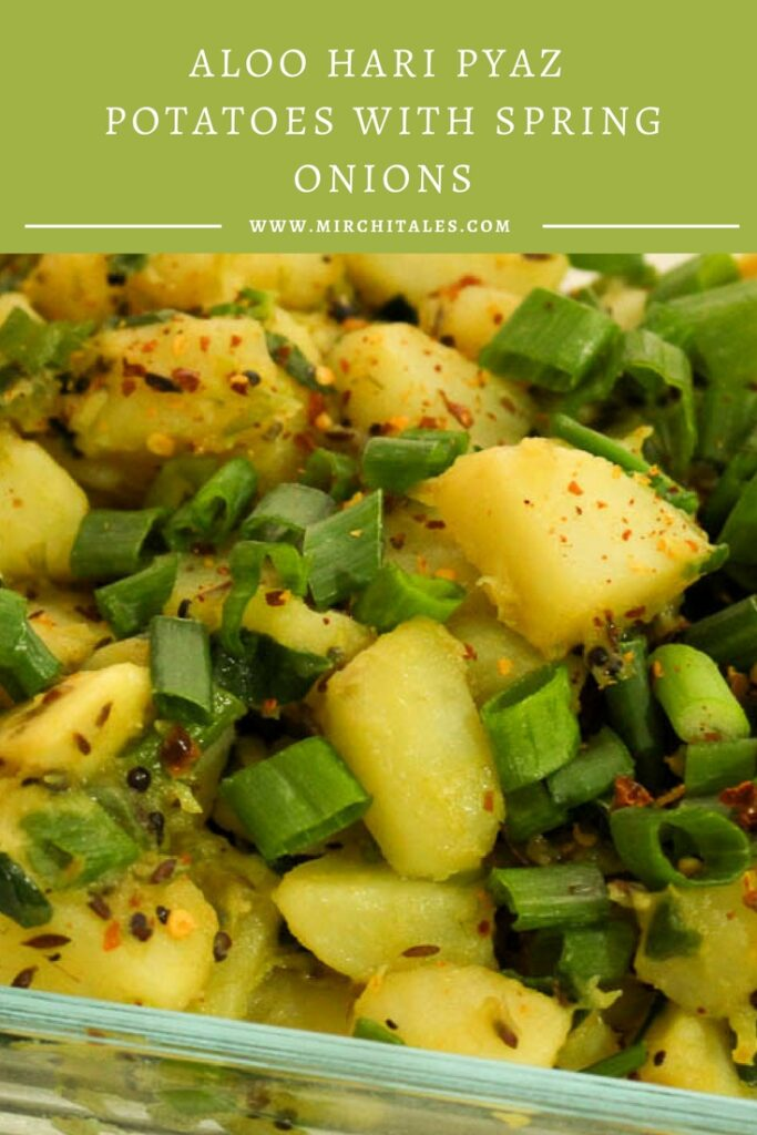 Aloo Hari Pyaz is a simple to prepare Pakistani vegetarian recipe made with potatoes and spring onions. It can be ready in less than 30 minutes