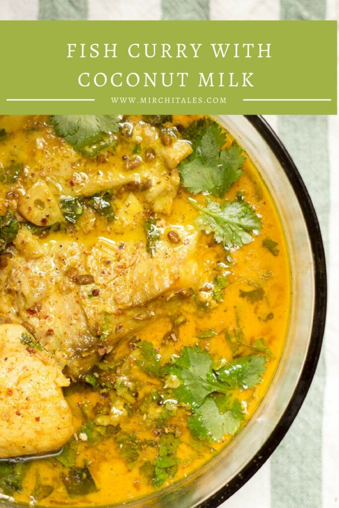 This fish curry with coconut milk is made with boneless fish fillets in a traditional Pakistani style salan with onions, yoghurt and spices with a can of coconut milk to make a rich and creamy gravy.