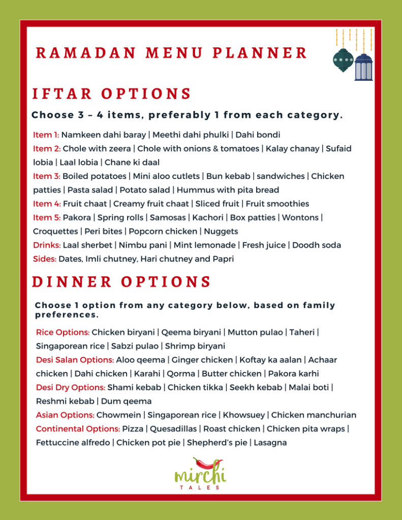 A Ramadan meal planner that will help you plan your meals in this holy month. Plus there is a FREE sample menu guideline for sehri/suhoor, iftar and dinner.