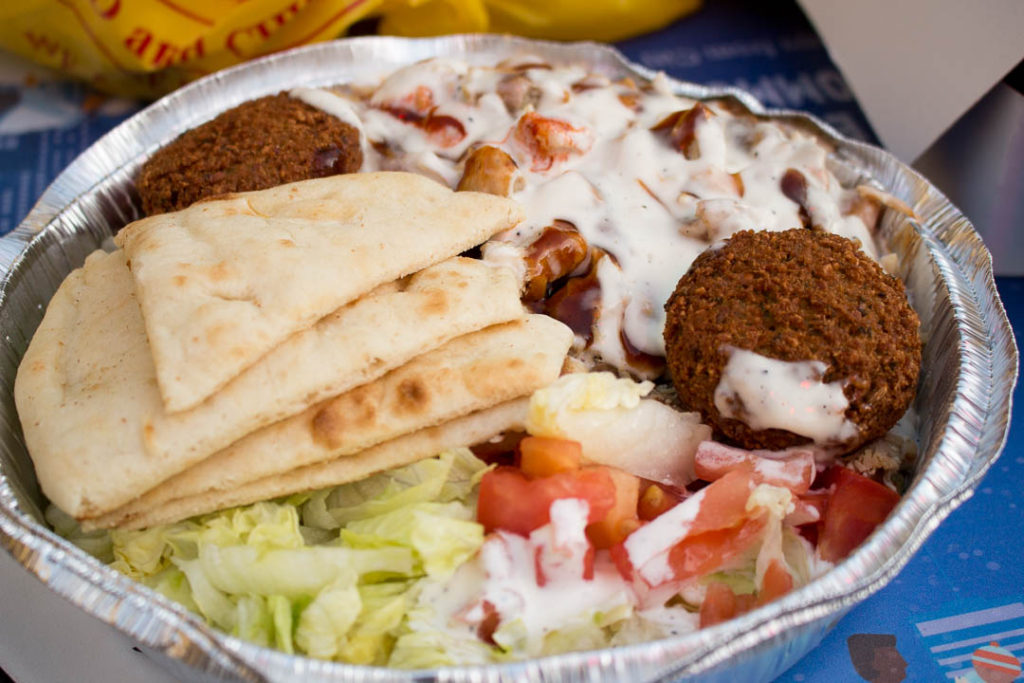 The chicken and rice bowl with extra falafel from the Halal Guys in New York