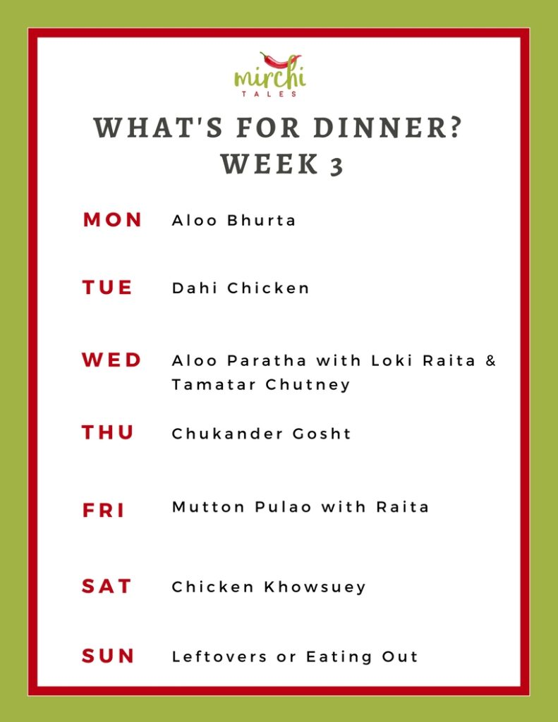 Sample weekly dinner menu 3. A Pakistani menu plan to help solve the exhausting question of 'what's for dinner' or as we say locally 'aaj kia pakayein'