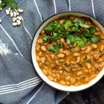 Black eyed peas curry or lobia ka salan is a Pakistani vegan recipe made with lobia / black eyed peas in an onion-tomato gravy base with garlic and aromatic spices. It can be made in a regular pot or in a pressure cooker / Instant Pot.
