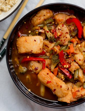 This Chinese style fish and vegetable stirfry is made with just 1 teaspoon of oil! Healthy and delicious it's perfect for dinner and can also be meal prepped for lunch during the week.