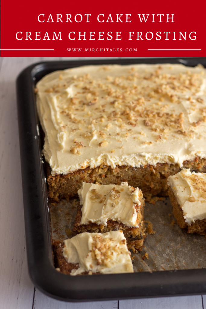 Easy to make carrot cake with cream cheese frosting. The cake is super soft and delicious, and that cream cheese frosting on top gives it that 'wow' factor.