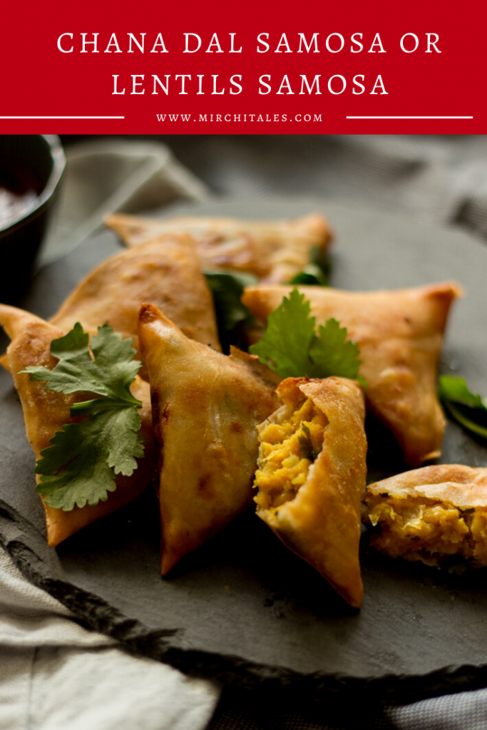 Chana dal samosas are a popular Pakistani & Indian vegetarian / vegan snack. Perfect for tea time with green chutney or raita on the side.
