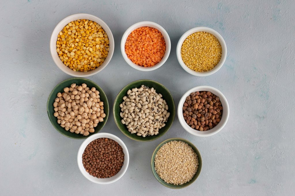 Different types of beans and lentils that are used in a Pakistani kitchen.
