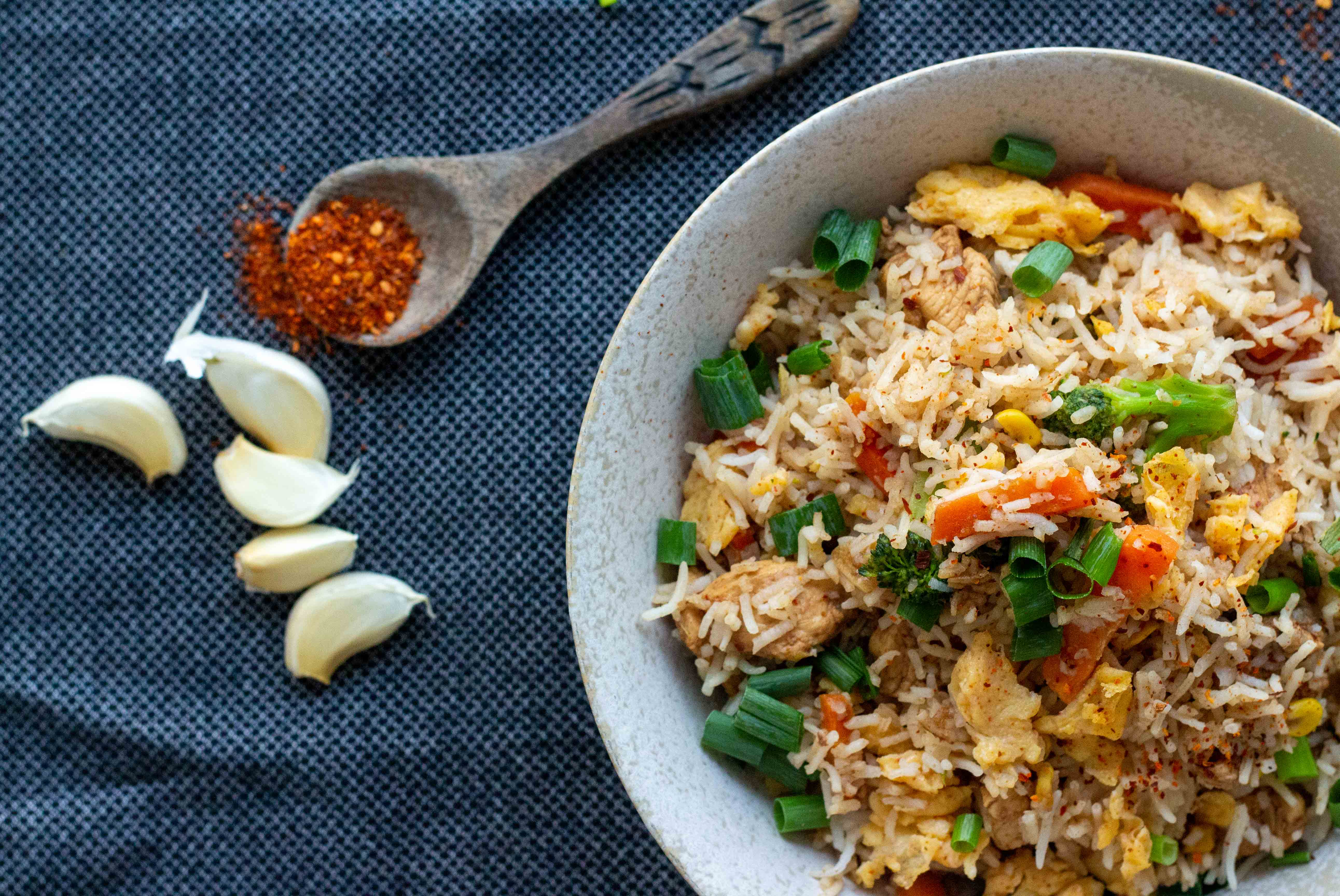 Indo Chinese Egg Fried Rice Recipe No Soy Sauce