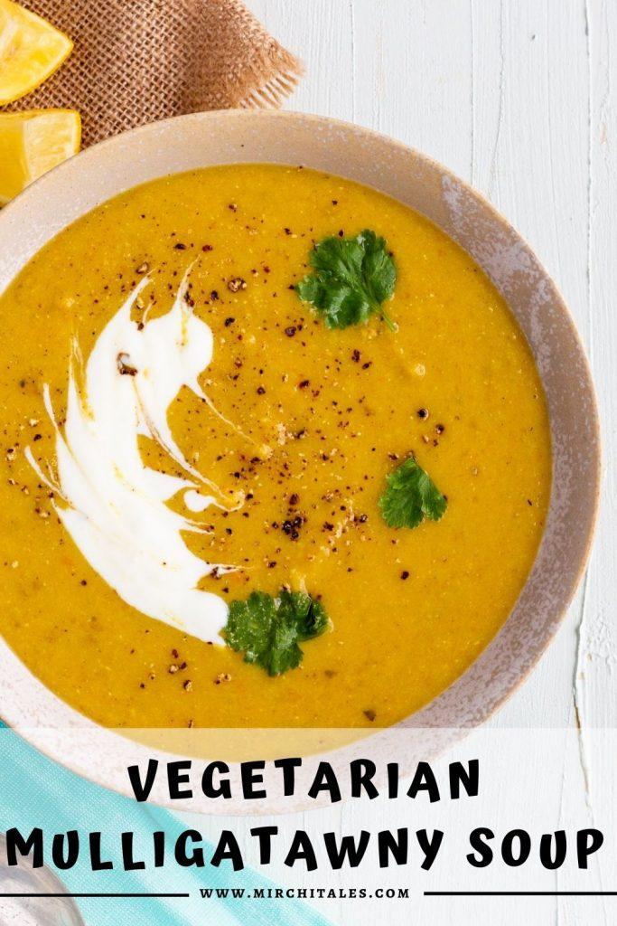 A bowl of vegetarian mulligatawny soup.