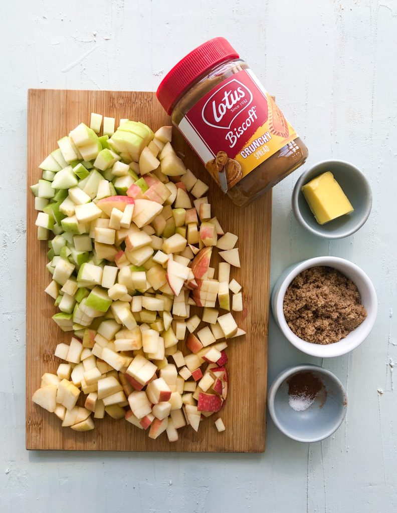 Ingredients required for Apple Biscoff Turnovers - lotus biscoff spread, apples, brown sugar, salt, cinnamon, and butter.