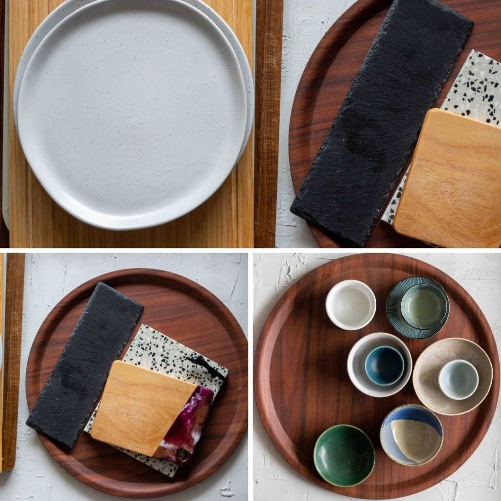 A selection of boards, dips and bowls for a cheese board