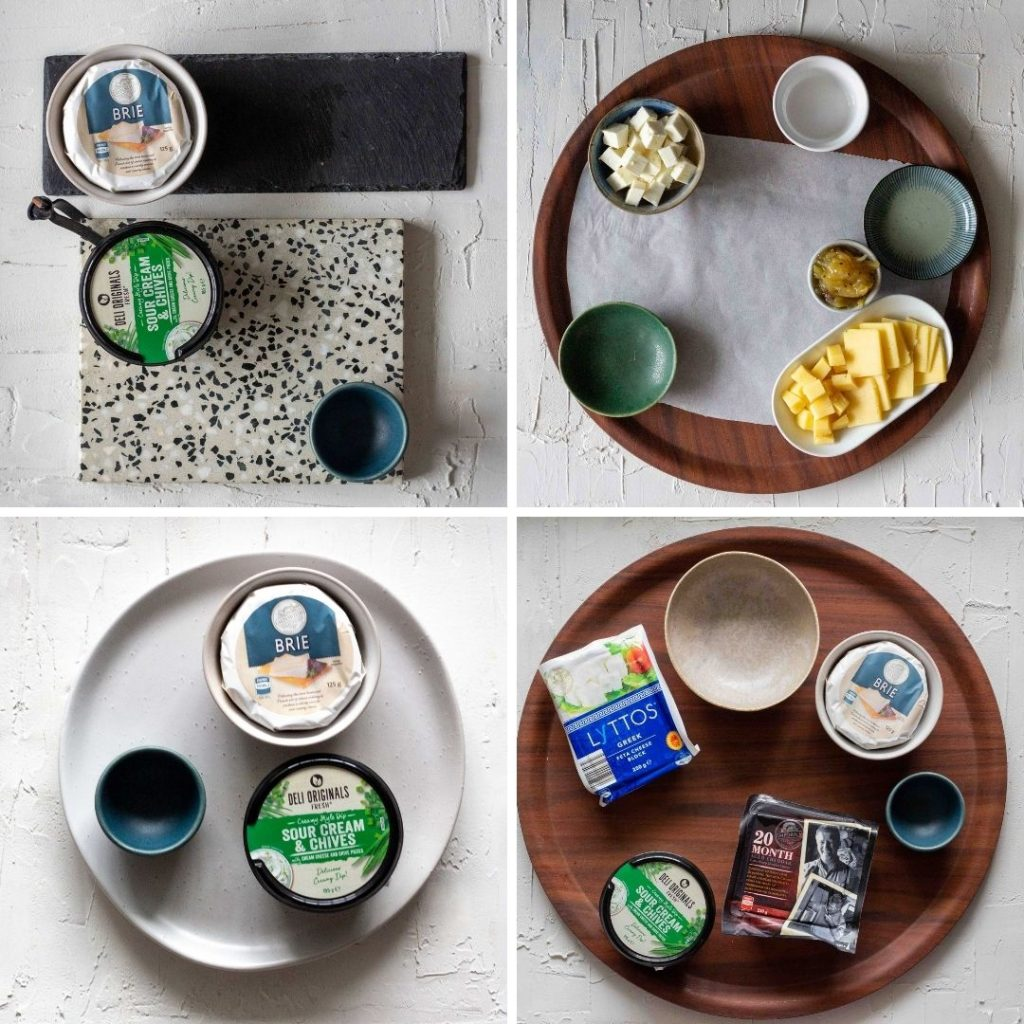 A picture collage with four different cheese boards set out with bowls, and types of cheeses.