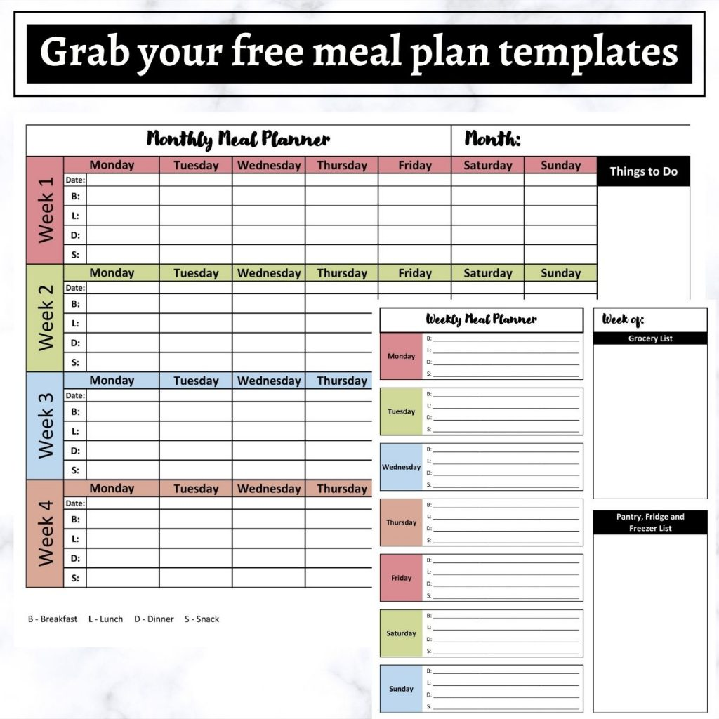 A picture of a weekly meal plan and a monthly meal plan.
