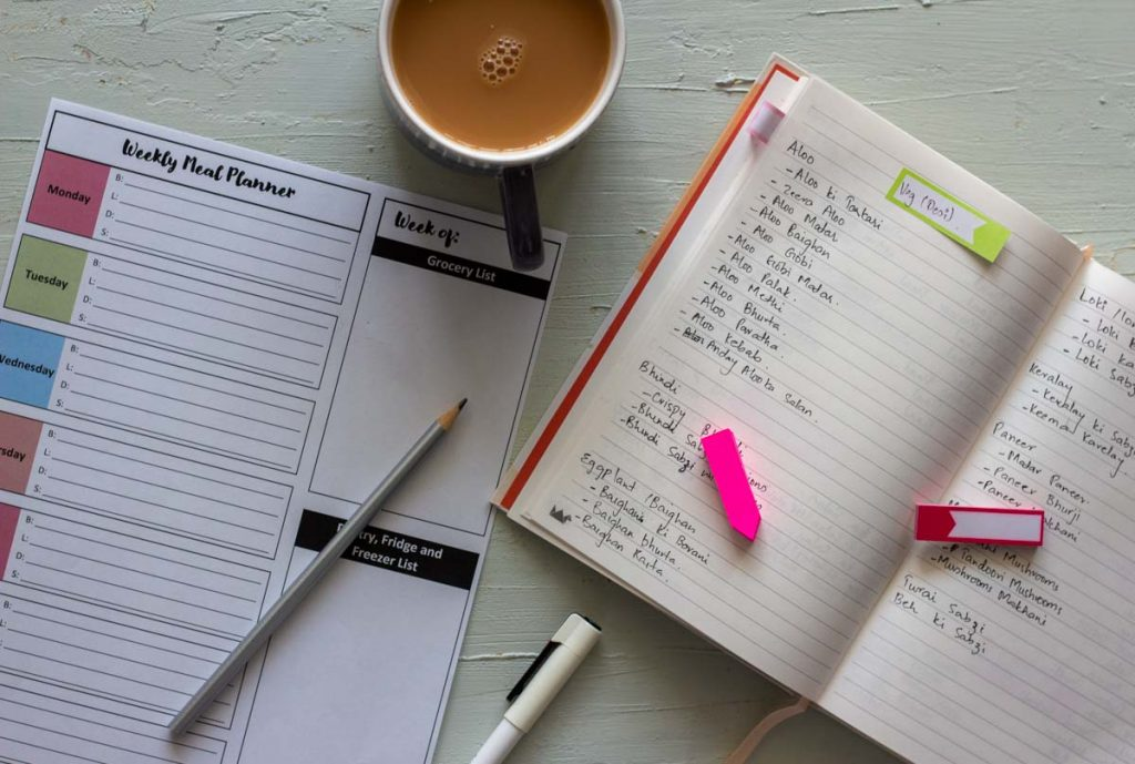 Tools needed for making a weekly meal plan.