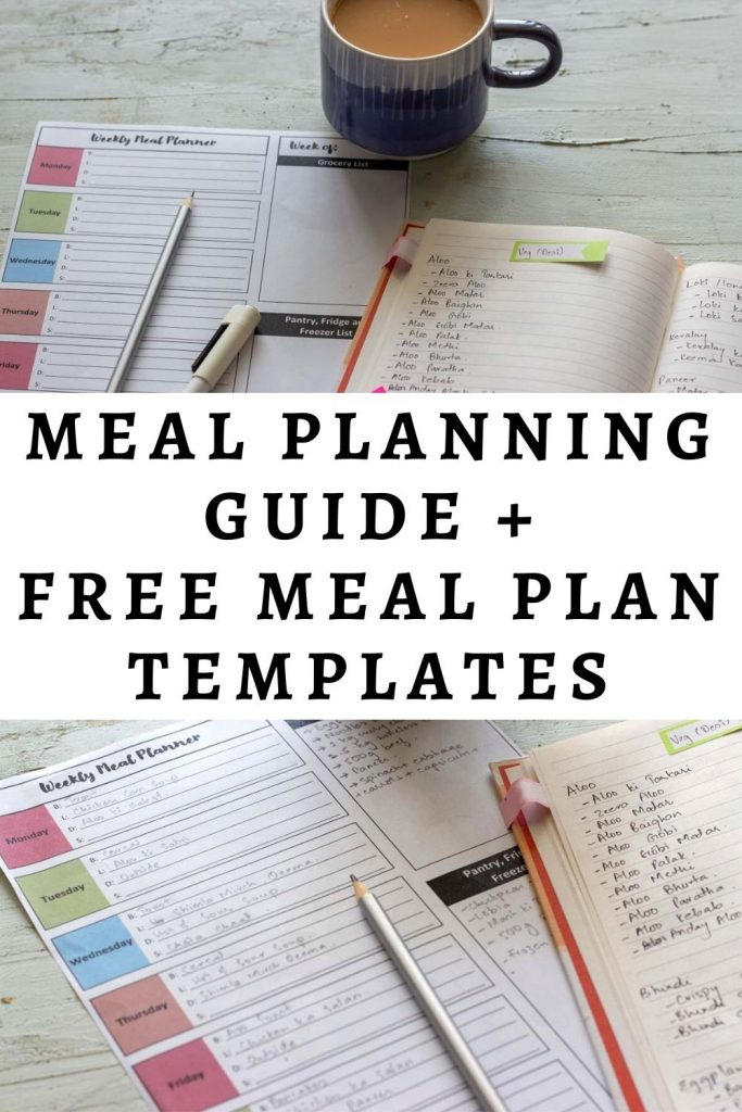 A graphic image with the text 'meal planning guide and free meal plan templates'
