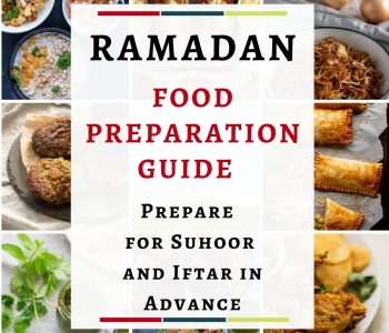 An image with the text 'Ramadan Food Preparation Guide. Prepare for Suhoor and Iftar in Advance'. On the back of the text is a collage of 9 pictures of iftar and suhoor snacks which includes shami kebabs, pakoras, green chutney, chaat, fried onions, and vegetable puff patties.