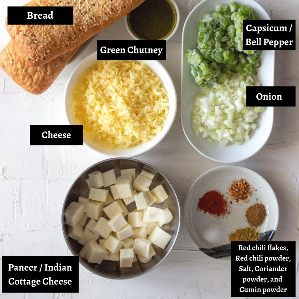 Ingredients laid out for paneer tikka sandwich.